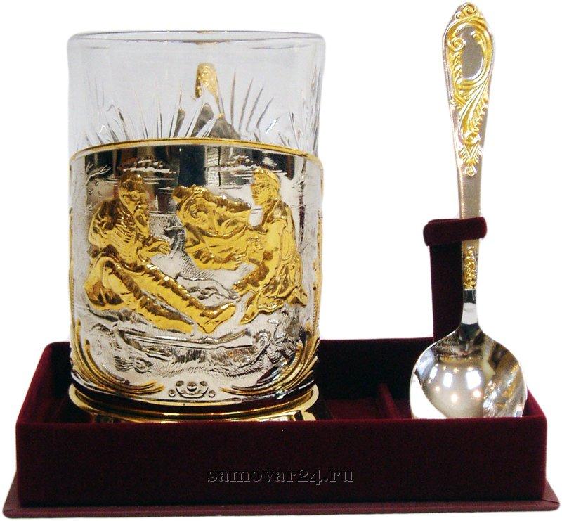Набор подстаканник позолота Охотники на привале стакан хрустальный, ложка чайная ИП Игнатьев С.Б.