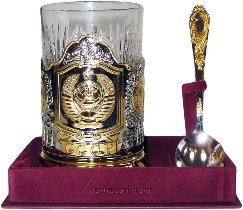 Набор подстаканник позолота СССР, стакан хрустальный, ложка чайная ИП Игнатьев С.Б.